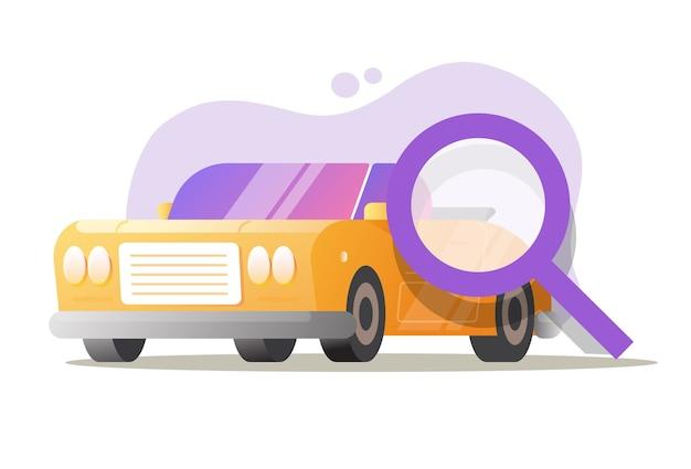Serwis samochodowy samochód test samochodowy kontrola inspekcji ilustracja kreskówka płaski wektor