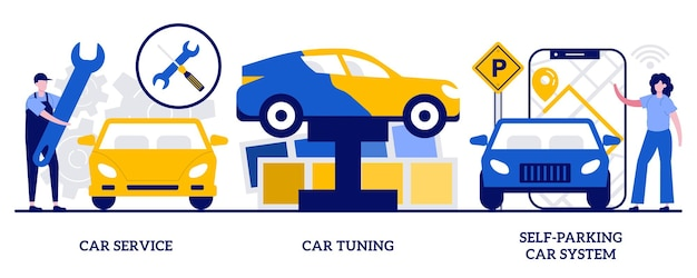 Serwis samochodowy, tuning samochodów, koncepcja systemu samodzielnego parkowania z maleńkimi ludźmi. serwis samochodowy streszczenie wektor ilustracja zestaw.