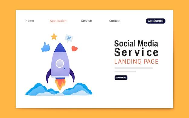 Serwis społecznościowy układ strony docelowej wektor
