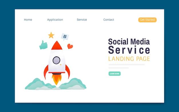 Serwis społecznościowy wektor układ strony docelowej