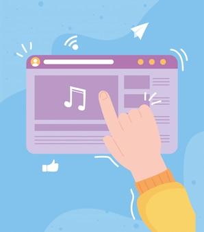 Serwis społecznościowy z muzyką na cyfrowym ekranie komunikacyjnym i technologiami