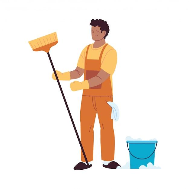 Serwis sprzątający z rękawiczkami i przyborami do czyszczenia