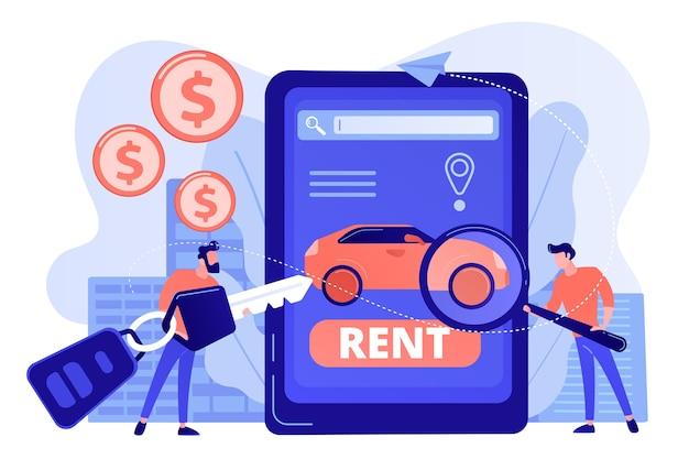 Serwis wynajmu transportu, zakup samochodów. mężczyzna wyszukuje używane auto w internecie