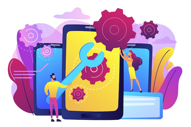 Serwisanci z dużym kluczem do naprawy ekranu smartfona z biegami. naprawa smartfona, serwis telefonu komórkowego, koncepcja naprawy tego samego dnia. jasny żywy fiolet na białym tle ilustracja