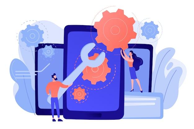 Serwisanci z dużym kluczem naprawiający ekran smartfona z biegami. naprawa smartfona, serwis telefonu komórkowego, koncepcja naprawy tego samego dnia