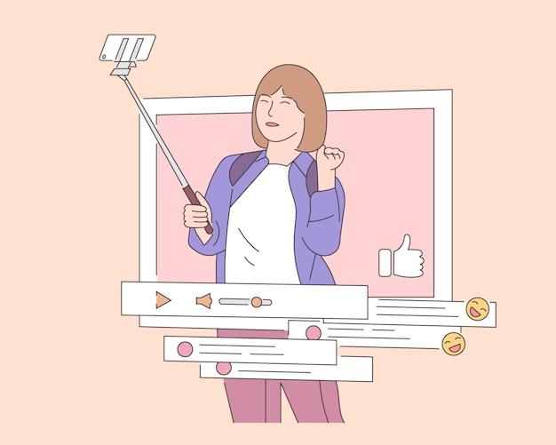 Serwisy społecznościowe, promocja, koncepcja smm. młoda szczęśliwa kobieta lub dziewczyna prowadzi bloga. ilustracja