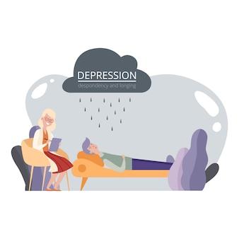 Sesja psychoterapeutyczna, pomoc psychologiczna. przygnębiony mężczyzna i ilustracja psychoterapeuty