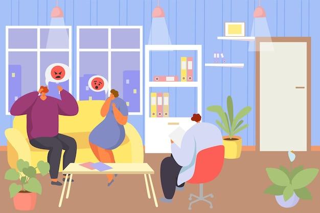 Sesja psychoterapii rodzinnej, ilustracji wektorowych. mężczyzna kobieta para postać w terapii, psycholog rozmawia z pacjentem siedzącym na kanapie. doradztwo psychologiczne, leczenie w gabinecie.