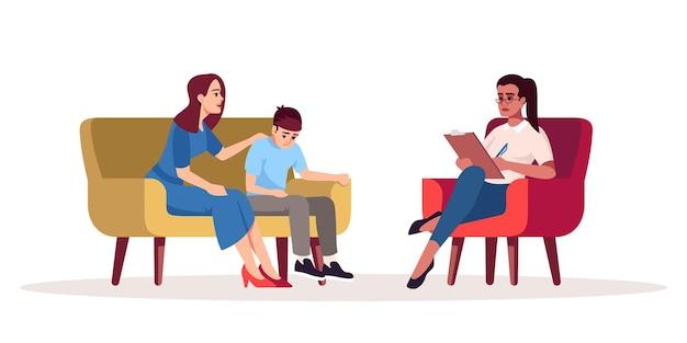 Sesja psychoterapii rodzinnej pół płaskiej ilustracji wektorowych kolor rgb. relacja matki i syna. problemy rodzinne. wiek przejściowy. konsultacja psychologiczna. na białym tle postać z kreskówki na białym