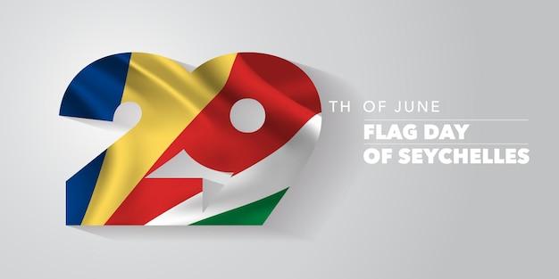 Seszele szczęśliwy dzień flagi. święto 29 czerwca z elementami flagi