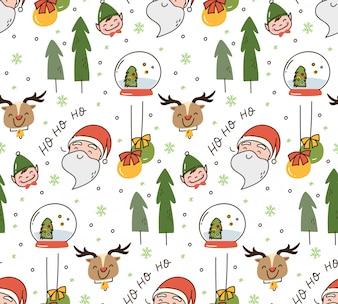 Set śliczny bożego narodzenia doodle tło