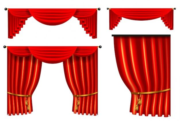 Set 3d czerwona luksusowa jedwabnicza zasłona, realistyczna wewnętrzna dekoracja