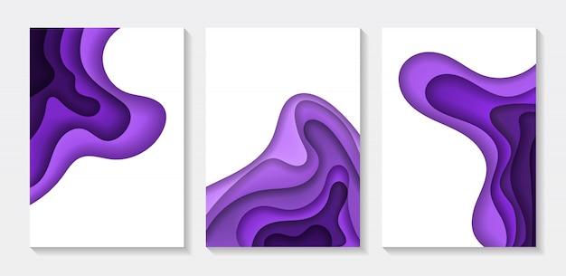 Set abstrakcjonistyczna koloru 3d papieru sztuki ilustracja. kontrastuj kolory. streszczenie elementy gradientu logo, baner, post