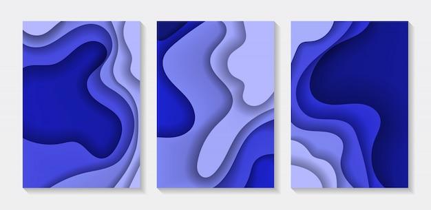 Set abstrakcjonistyczna tło koloru 3d papieru sztuki ilustracja. kontrastuj kolory.