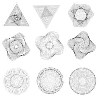 Set abstrakcjonistyczni geometryczni elementy i kształty na białym tle.