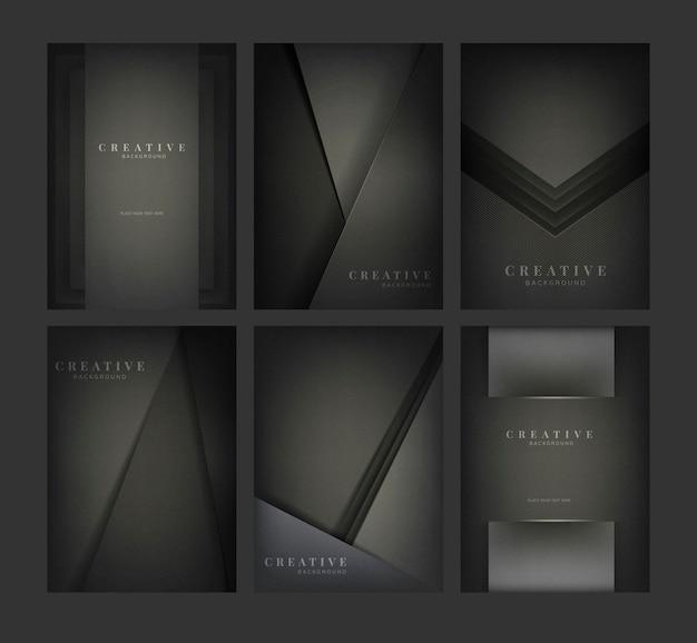 Set abstrakcjonistyczni kreatywnie tło projekty w czerni