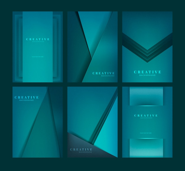 Set abstrakcjonistyczni kreatywnie tło projekty w zieleni