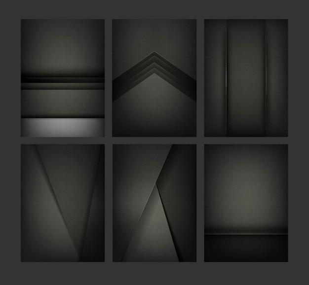 Set abstrakcjonistyczni tło projekty w czerni