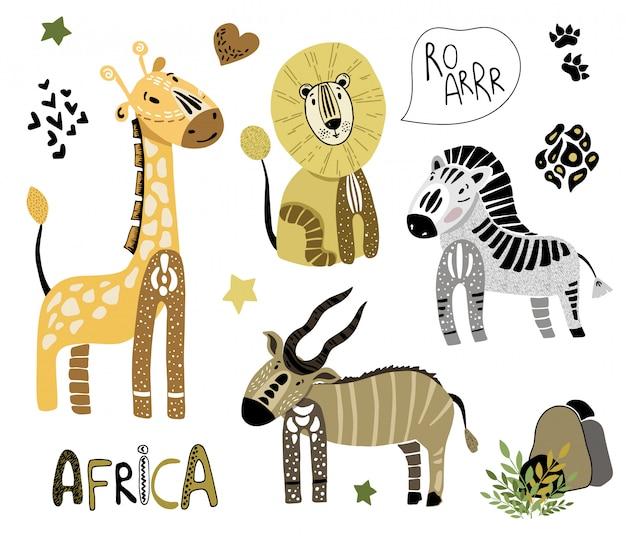 Set afrykańscy kreskówek zwierzęta na bielu