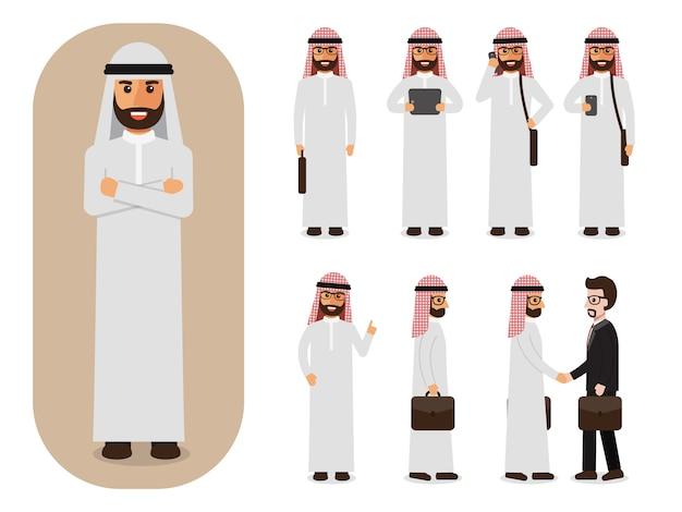 Set arabski biznesmen przy pracą.