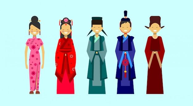 Set azjatyccy kostiumy, etniczni ludzie w tradycyjnym ubraniowym pojęciu