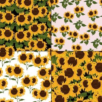 Set bezszwowy wzór z słonecznikiem i liściem
