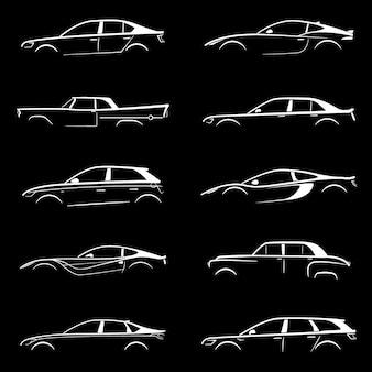 Set biały sylwetka samochód na czarnym tle.