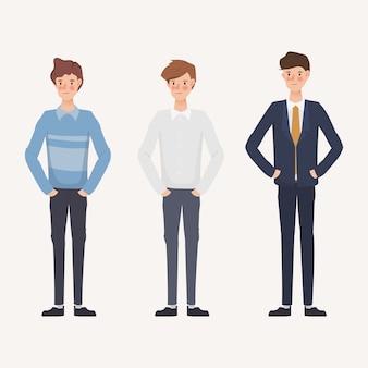 Set biznesmen w różnych ubraniach. ręcznie rysowane postaci.