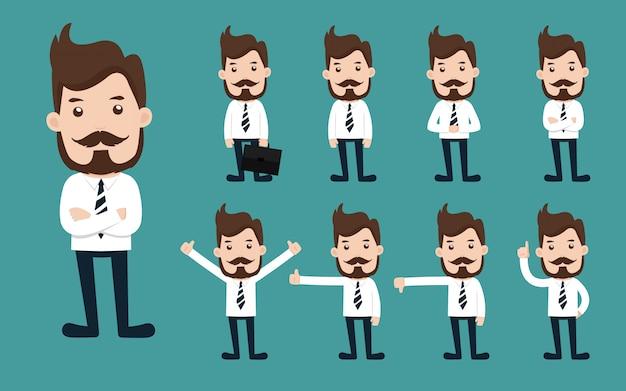 Set biznesmena charakteru różne pozy.