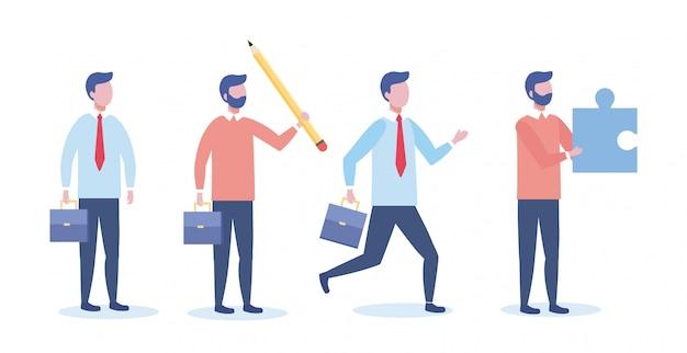 Set biznesowy mężczyzna z walizką i łamigłówką z ołówkiem