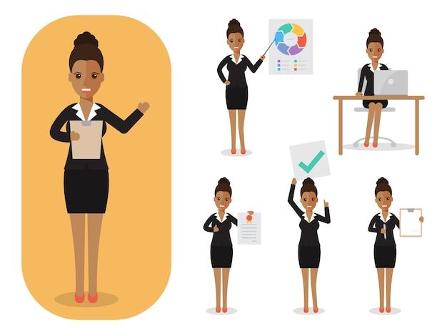 Set bizneswoman przy pracą.