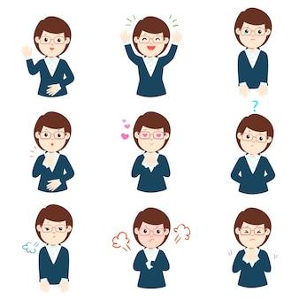Set bizneswoman twarzy wyrażeniowy kreskówka wektor.