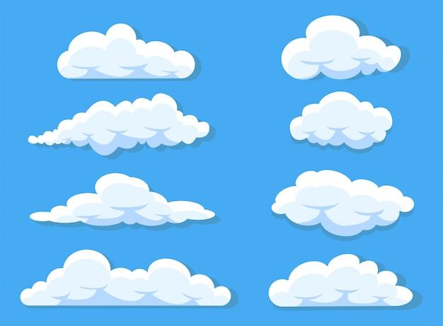 Set chmury kreskówki styl odizolowywający na białej wektorowej ilustraci