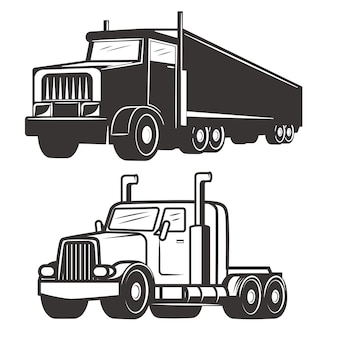 Set ciężarowe ilustracje na białym tle. elementy logo, etykiety, godła, znaku, znaku marki.