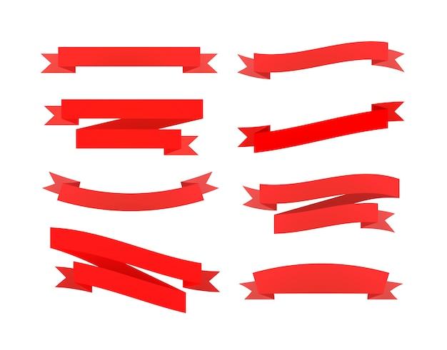 Set czerwoni retro faborki odizolowywający na bielu