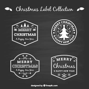 Set cztery blackboard bożych narodzeń etykietki kolekcja