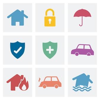 Set domowej ochrony ikony ilustracyjne