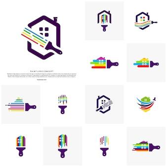 Set Domowy farba loga projekta pojęcia wektor