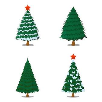 Set drzewni xmas boże narodzenia odizolowywający. styl kreskówki. ilustracja wektorowa na boże narodzenie.
