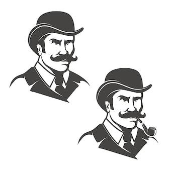 Set dżentelmen głowy z dymienie drymbą na białym tle. obrazy dla logo, etykiety, godła, znak. ilustracja.