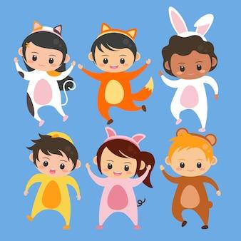 Set dzieci jest ubranym zwierzęcego kostiumowego ilustracyjnego wektor