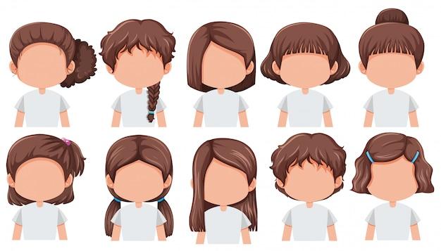 Set dziewczyna z różną fryzurą