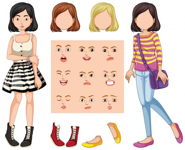 Set dziewczyna z różnym wyrazem twarzy