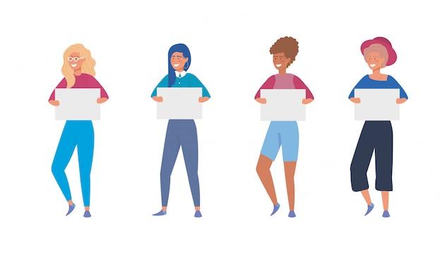 Set dziewczyny z przypadkowymi ubraniami i plakatem