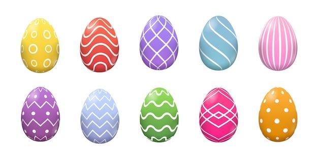 Set easter jajek różna tekstura, wzór na białym tle