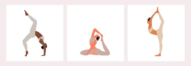 Set elastyczni ludzie ćwiczy joga postać z kreskówki ilustrację