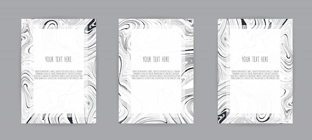 Set elegancka karta z marmurową teksturą