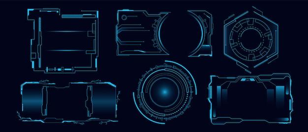 Set futurystyczna cześć techniki hud interfejsu ilustracja. cyber hologramowy panel deski rozdzielczej