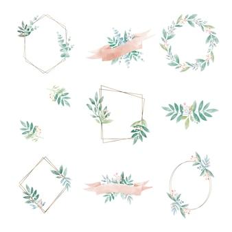 Set geometryczna rama z liśćmi wektorowymi