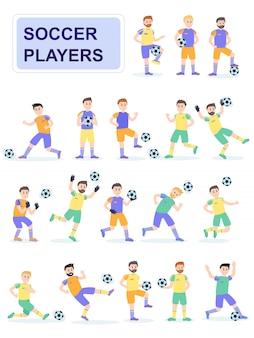 Set gracz piłki nożnej piłka z różną pozą.